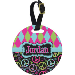 Harlequin & Peace Signs Round Luggage Tag (Personalized)