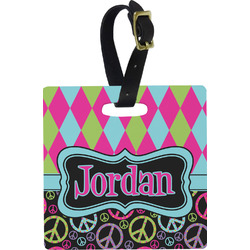 Harlequin & Peace Signs Luggage Tags (Personalized)