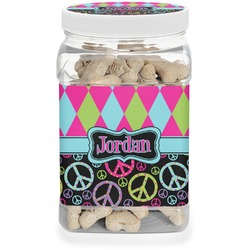 Harlequin & Peace Signs Dog Treat Jar (Personalized)