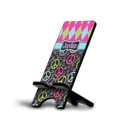 Harlequin & Peace Signs Phone Stand (Personalized)