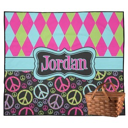 Harlequin & Peace Signs Outdoor Picnic Blanket (Personalized)