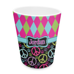 Harlequin & Peace Signs Plastic Tumbler 6oz (Personalized)
