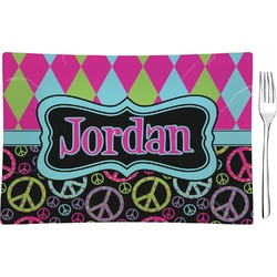 Harlequin & Peace Signs Rectangular Glass Appetizer / Dessert Plate - Single or Set (Personalized)