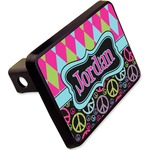 """Harlequin & Peace Signs Rectangular Trailer Hitch Cover - 2"""" (Personalized)"""