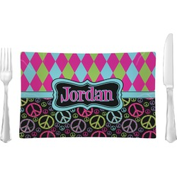 Harlequin & Peace Signs Rectangular Dinner Plate (Personalized)
