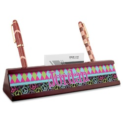 Harlequin & Peace Signs Red Mahogany Nameplate with Business Card Holder (Personalized)