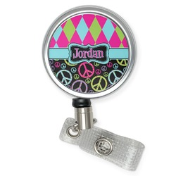 Harlequin & Peace Signs Retractable Badge Reel (Personalized)
