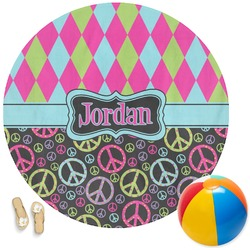 Harlequin & Peace Signs Round Beach Towel (Personalized)