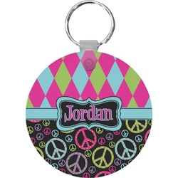 Harlequin & Peace Signs Keychains - FRP (Personalized)