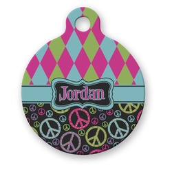 Harlequin & Peace Signs Round Pet ID Tag (Personalized)