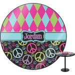 Harlequin & Peace Signs Round Table (Personalized)