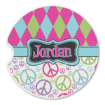 Harlequin & Peace Signs Sandstone Car Coasters (Personalized)