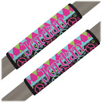 Harlequin & Peace Signs Seat Belt Covers (Set of 2) (Personalized)