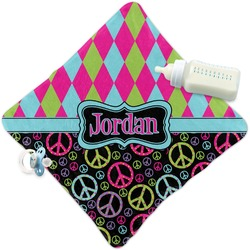 Harlequin & Peace Signs Security Blanket (Personalized)