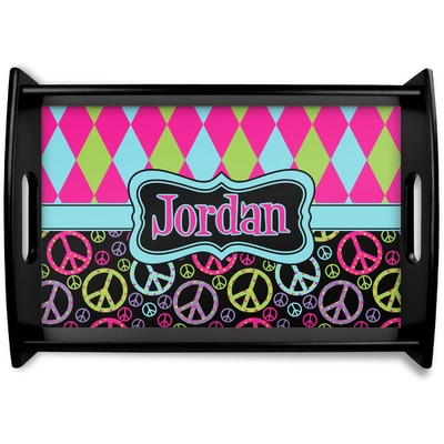 Harlequin & Peace Signs Wooden Trays (Personalized)