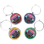 Harlequin & Peace Signs Wine Charms (Set of 4) (Personalized)