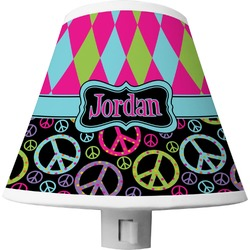 Harlequin & Peace Signs Shade Night Light (Personalized)