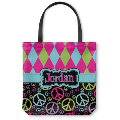 Harlequin & Peace Signs Canvas Tote Bag (Personalized)