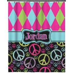"""Harlequin & Peace Signs Extra Long Shower Curtain - 70""""x84"""" (Personalized)"""