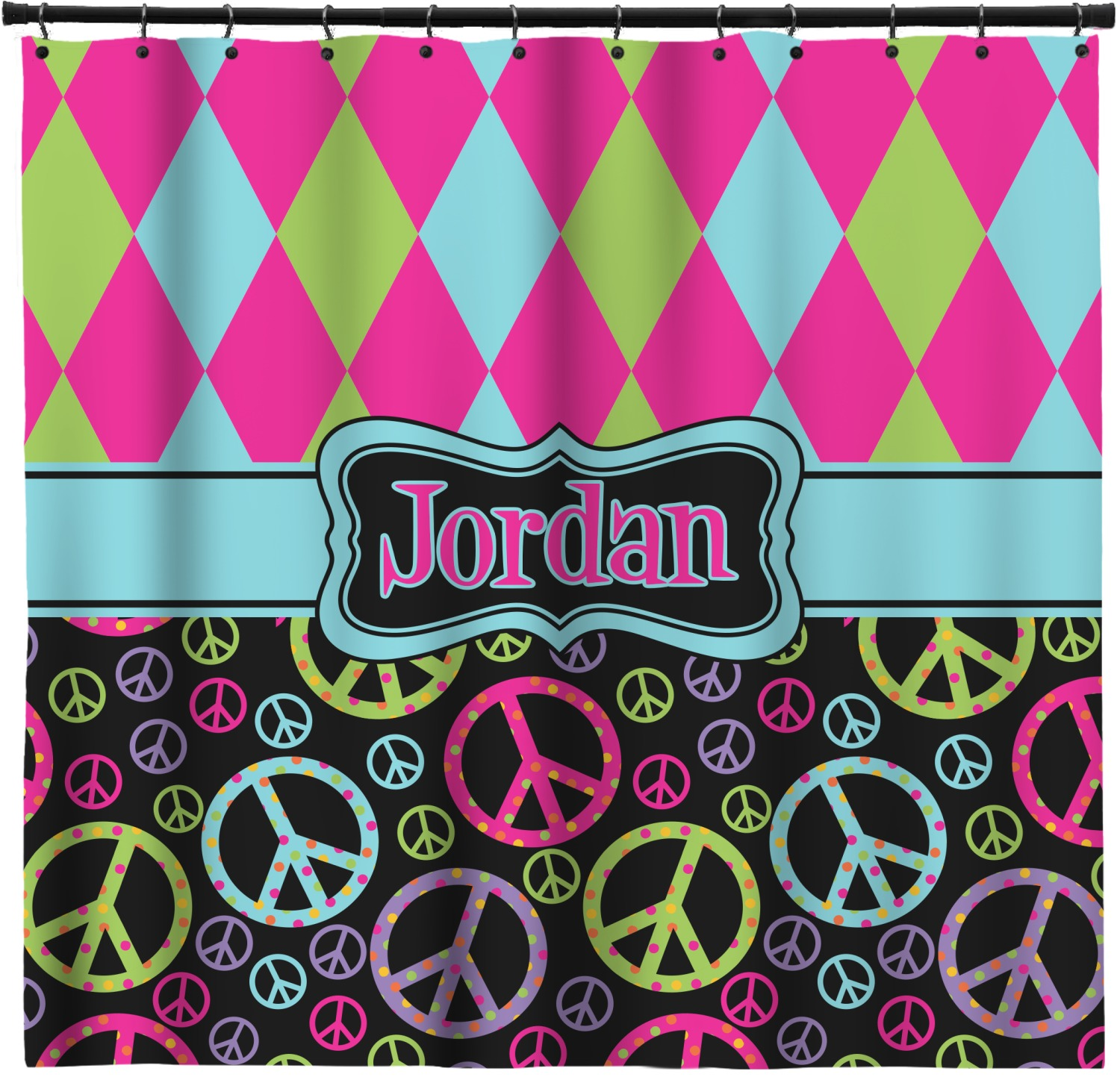 Harlequin Peace Signs Shower Curtain Personalized