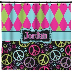 Harlequin & Peace Signs Shower Curtain (Personalized)