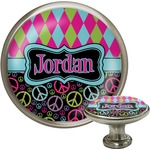 Harlequin & Peace Signs Cabinet Knob (Silver) (Personalized)