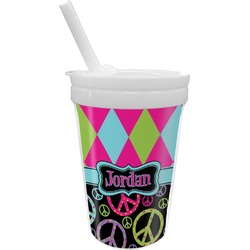 Harlequin & Peace Signs Sippy Cup with Straw (Personalized)