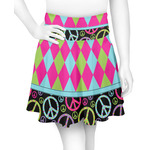 Harlequin & Peace Signs Skater Skirt (Personalized)