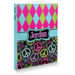 Harlequin & Peace Signs Softbound Notebook (Personalized)