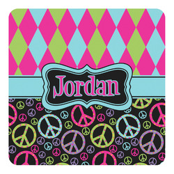Harlequin & Peace Signs Square Decal (Personalized)