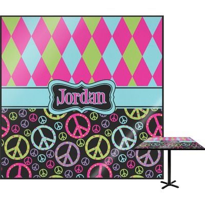 Harlequin & Peace Signs Square Table Top (Personalized)