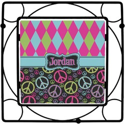 Harlequin & Peace Signs Square Trivet (Personalized)