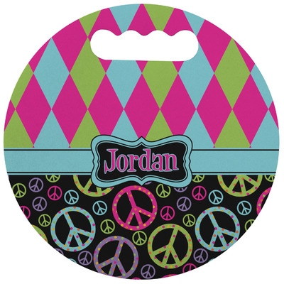 Harlequin & Peace Signs Stadium Cushion (Round) (Personalized)