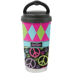 Harlequin & Peace Signs Stainless Steel Travel Mug (Personalized)