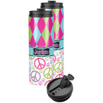 Harlequin & Peace Signs Stainless Steel Skinny Tumbler (Personalized)
