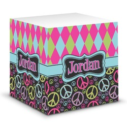 Harlequin & Peace Signs Sticky Note Cube (Personalized)
