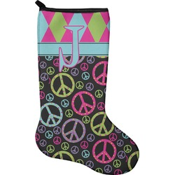 Harlequin & Peace Signs Holiday Stocking - Neoprene (Personalized)
