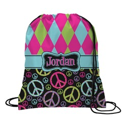 Harlequin & Peace Signs Drawstring Backpack (Personalized)