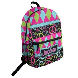 Harlequin & Peace Signs Student Backpack (Personalized)