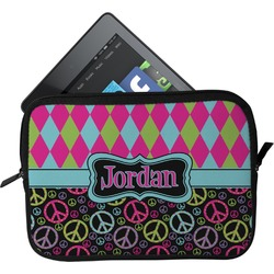 Harlequin & Peace Signs Tablet Case / Sleeve (Personalized)