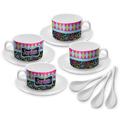 Harlequin & Peace Signs Tea Cup - Set of 4 (Personalized)