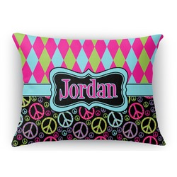 Harlequin & Peace Signs Rectangular Throw Pillow Case (Personalized)