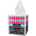 Harlequin & Peace Signs Tissue Box Cover (Personalized)
