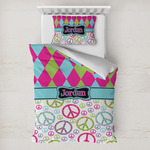 Harlequin & Peace Signs Toddler Bedding w/ Name or Text