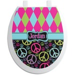 Harlequin & Peace Signs Toilet Seat Decal (Personalized)
