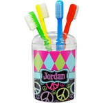 Harlequin & Peace Signs Toothbrush Holder (Personalized)
