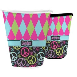 Harlequin & Peace Signs Waste Basket (Personalized)