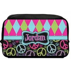 Harlequin & Peace Signs Toiletry Bag / Dopp Kit (Personalized)