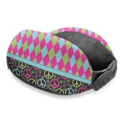 Harlequin & Peace Signs Travel Neck Pillow (Personalized)