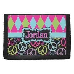 Harlequin & Peace Signs Trifold Wallet (Personalized)